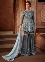 Bluish Gray Viscose Georgette Salwar Suit