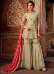 Light Olive Green Viscose Georgette Salwar Suit