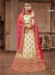 Cream Silk Satin Light Embroidery Lehenga Choli