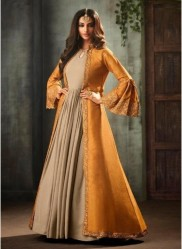 Beige & Orange Viscose Slub Silk Ankle-Length Salwar Suit