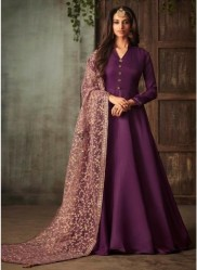 Dark Purple Silk With Can Can Ankle-Length Salwar Suit