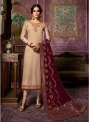 Burlywood Satin Georgette Salwar Suit