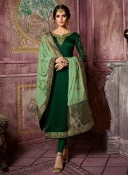 Dark Green Satin Georgette Salwar Suit