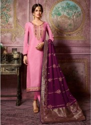 Pink Satin Georgette Salwar Suit