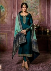 Dark Teal Blue Satin Georgette Salwar Suit