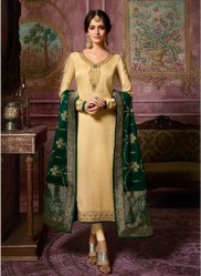 Light Gold Satin Georgette Salwar Suit