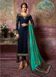Dark Navy Blue Satin Georgette Salwar Suit