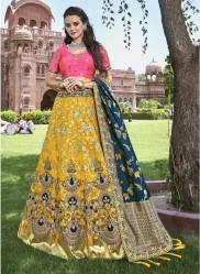 Yellow & Light Pink Banarasi Silk Jacquard Lehenga Choli