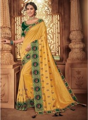 Light Mustard Georgette Silk Embroidery Saree