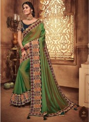 Olive Green Georgette Silk Embroidery Saree