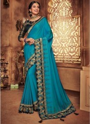 Neon Blue Georgette Silk Embroidery Saree