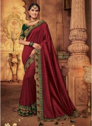 Maroon Georgette Silk Embroidery Saree