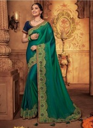 Dark Green Georgette Silk Embroidery Saree