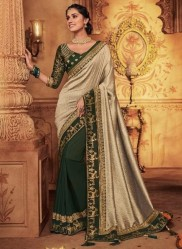Vanilla Georgette Silk Embroidery Saree