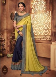 Lemon & Blue Georgette Silk Embroidery Saree