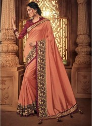 Salmon Georgette Silk Embroidery Saree
