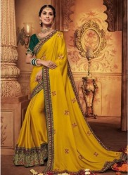 Mustard Georgette Silk Embroidery Saree