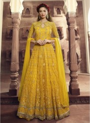Yellow Net Anarkalis Salwar Suit