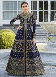 Navy Blue Mulberry Silk Salwar Suit