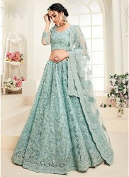Mint Net Silk Satin 2 Layer Inner With Can-Can Bridal Lehenga Choli