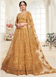 Dark Burlywood Net Silk Satin 2 Layer Inner With Can-Can Bridal Lehenga Choli