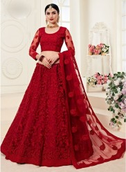 Dark Red Net Silk Satin 2 Layer Inner With Can-Can Bridal Lehenga Choli