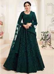 Dark Teal Green Net Silk Satin 2 Layer Inner With Can-Can Bridal Lehenga Choli