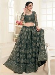 Sage Green Net Silk Satin 2 Layer Inner With Can-Can Bridal Lehenga Choli