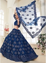 Yale Blue Net Silk Satin 2 Layer Inner With Can-Can Bridal Lehenga Choli