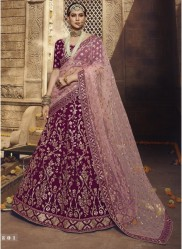 Purple Georgette Wedding Lehenga Choli