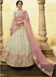 Bone White Georgette Wedding Lehenga Choli