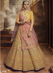 Yellow Organza Wedding Lehenga Choli
