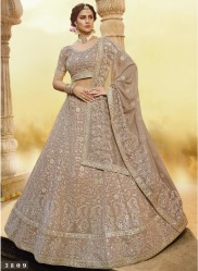 Beige Georgette Wedding Lehenga Choli