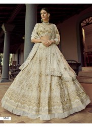 Light Cream Georgette Wedding Lehenga