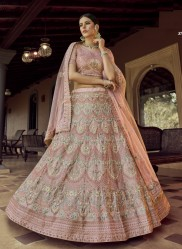Misty Rose Georgette Wedding Lehenga