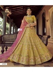 Mustard Yellow Georgette Wedding Lehenga