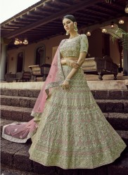 Light Green Georgette Wedding Lehenga
